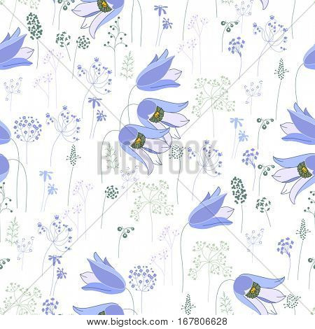 Seamless pattern with stylized cute blue bells.  Endless texture for your design, greeting cards, announcements, posters.