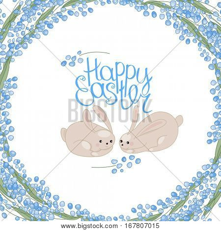 Greeting easter card with rabbits, flowers, herbs and phrase Happy Easter.Blue color. White background.