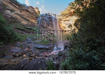 Magnificent View Of Wentworth Falls Waterfall In Blue Mountains National Park