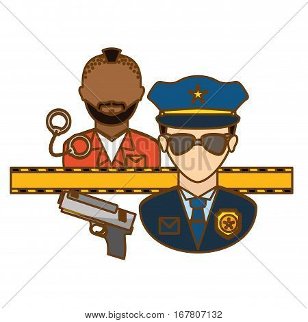 Police Arresting Offender icon image, vector illustration