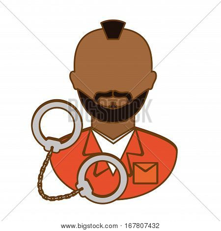 arrested man with handcuffs icon, vector illustration
