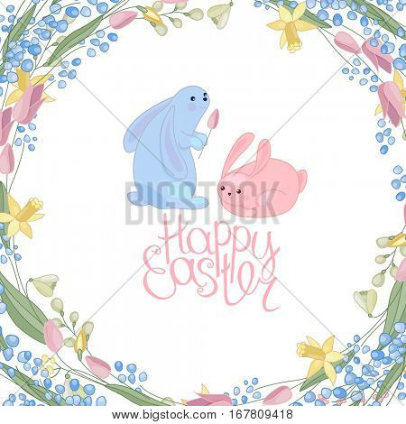 Greeting easter card with rabbits, flowers, herbs and phrase Happy Easter. Blue and red color. White background.
