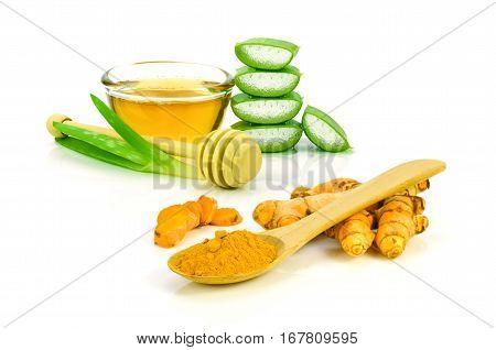 Aloe vera, honey and curcumin for beauty skin treatment.