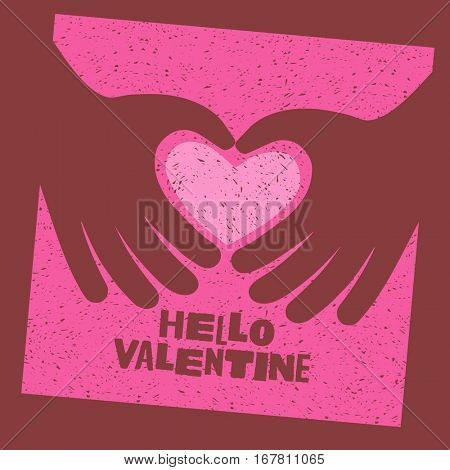Valentine's Day card design with 2 hands making a heart with text, Hello Valentine.
