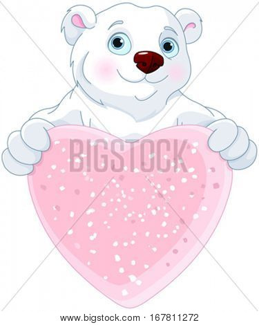 Cute Polar bear holding heart shape sign