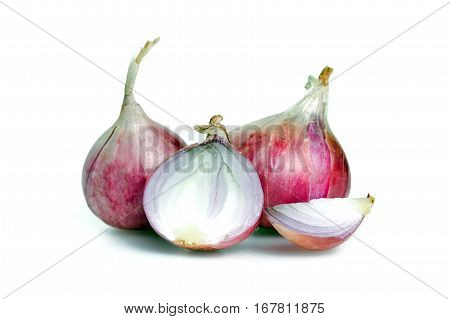 Shallot (also named as ascalonicum Allium stipitatum Allium fistulosum red onion salad onion scallion or salad shallot) isolated on white background