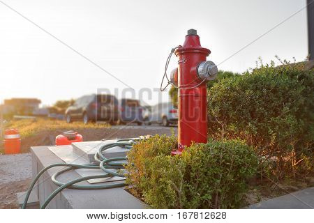 typical red fire hydrant. jeju city South Korea