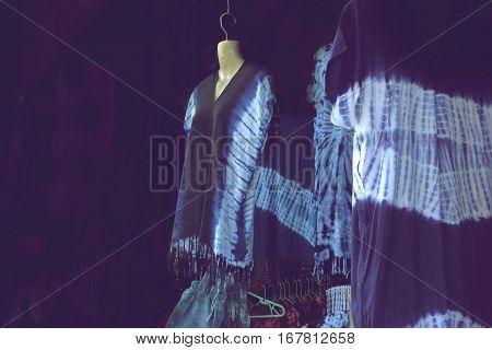 Indigo-dyed dress In souvenir shop natural blue Indigo dyed cloth.