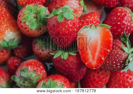 Strawberry fruit (Also named as Fragaria strawberry or Fragaria ananassa berry)