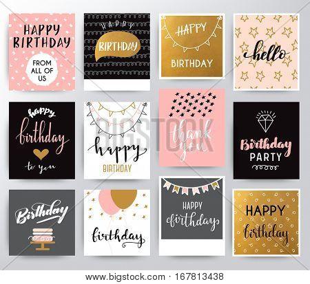 Vector happy birthday set