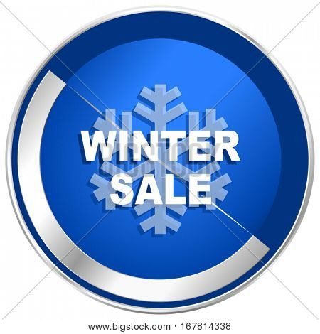 Winter sale silver metallic web and mobile phone vector icon in eps 10.