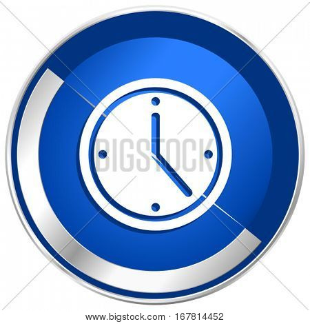 Time silver metallic web and mobile phone vector icon in eps 10.