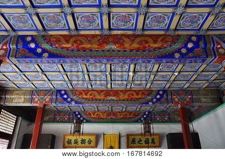 SHENYANG, CHINA - JUL. 26, 2012: Inside view of Qingning Palace in the Shenyang Imperial Palace (Mukden Palace), Shenyang, Liaoning, China. Shenyang Imperial Palace is UNESCO world heritage site.