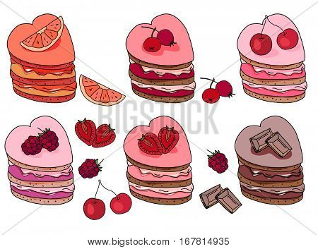 Set with sweet desserts. Collection with pastry,heart  shape, fruits, berries and chocolate. Objects isolated on white background. Red, pink and brown color.
