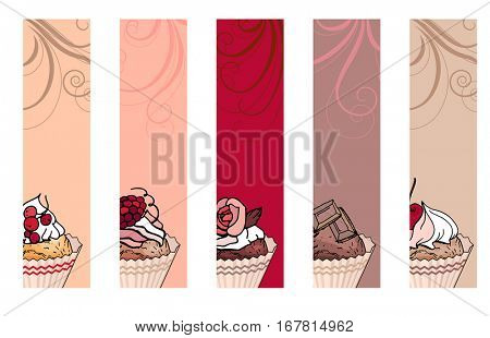 Set with different vertical banners with sweet capcakes. For restaurant and cafe advertisement. Brown, beige and red color