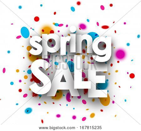White spring sale paper background with color drops. Vector illustration.
