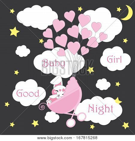Baby shower card with cute rabbit sleeps on baby cart with pink balloons on night sky suitable for baby shower postcard, greeting card, and wallpaper