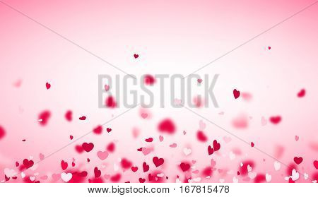 Love valentine's pink background with blurred hearts. Vector illustration.