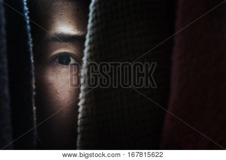 Fear Woman Hiding In Closet