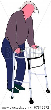 An Old man using mobility aid standing walking basing on walker conceptual togetherness healthcare image support elderly people concept vector