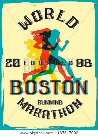 World marathon series retro poster. Boston marathon running. Vintage custom typeface.