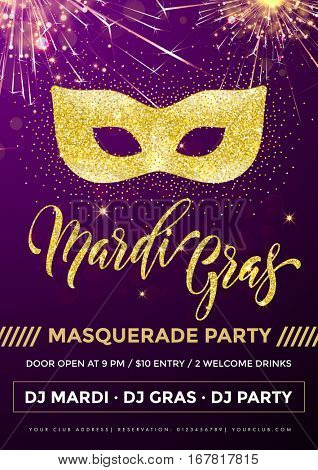 Gold glitter carnival mask for Mardi Gras Shrove Tuesday festival poster.