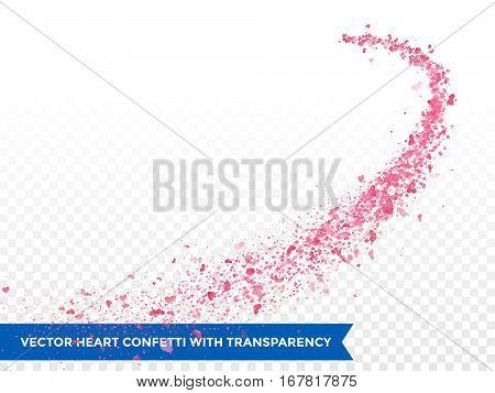 Pink Heart confetti glitter trail. Vector love comet on transparent background