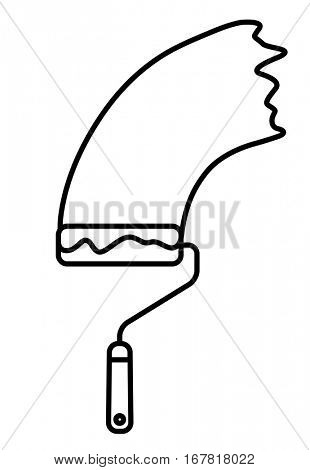 Paint Roller with paint trace. Linear thin line vector illustration