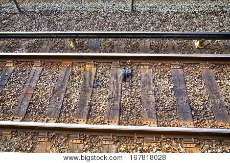 shoes lying on railway tracks. the concept of an accident on the railroad, suicide