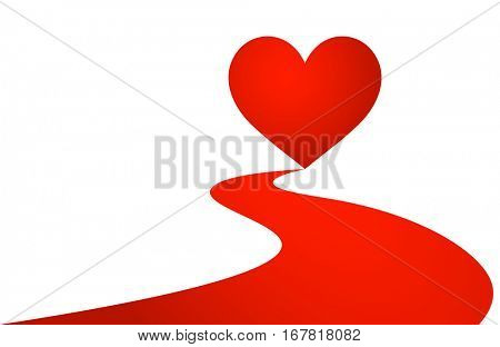 White love valentine's background with red heart. Vector illustration.