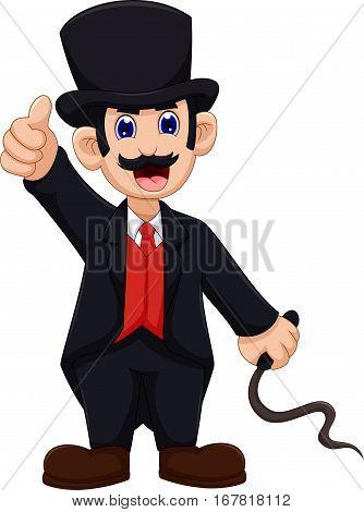 cute Ringmaster cartoon thumb up for you design