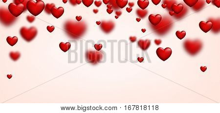 Valentine's pink love banner with red 3d hearts. Vector illustration.