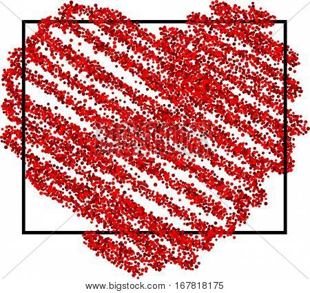 Valentine's love background with red pictured heart. Vector illustration.