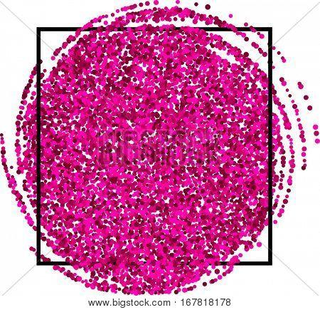 White festive pink background with black frame. Vector illustration.