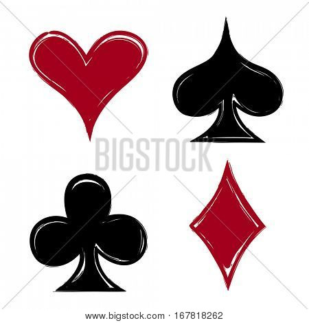 Playing card suits, icon, symbol set hand drawing. eps10