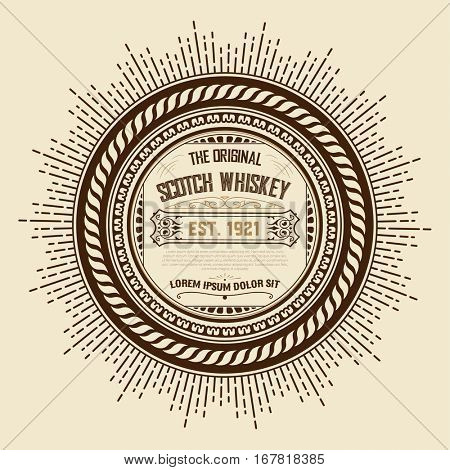 old vintage whiskey label design