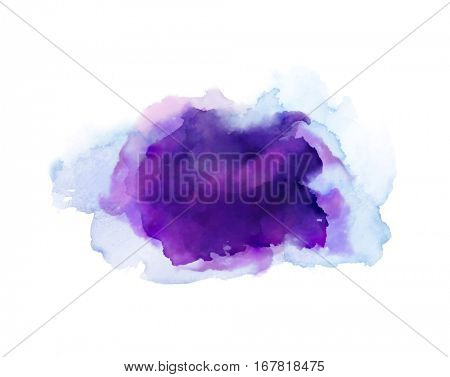 Purple, violet, lilac and blue watercolor stains. Bright element for abstract artistic background.
