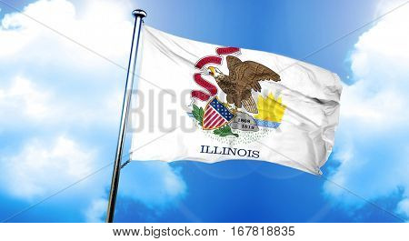 illinois flag, 3D rendering, on a cloud background