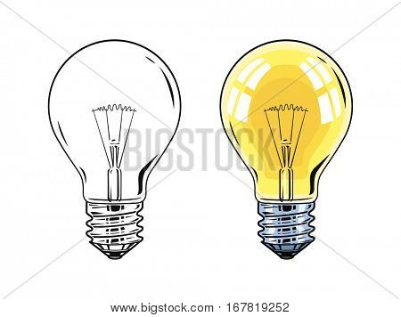 Shining Electric bulb. Light glass lamp. Vector illustration. Isolated on white background.