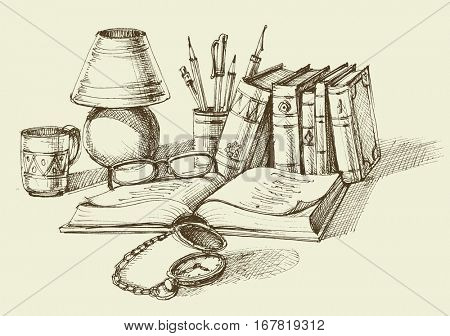 Vintage lifestyle design. Stack of books, lamp, old clock and a cup of coffee. Sketched concept of writing, study or literature
