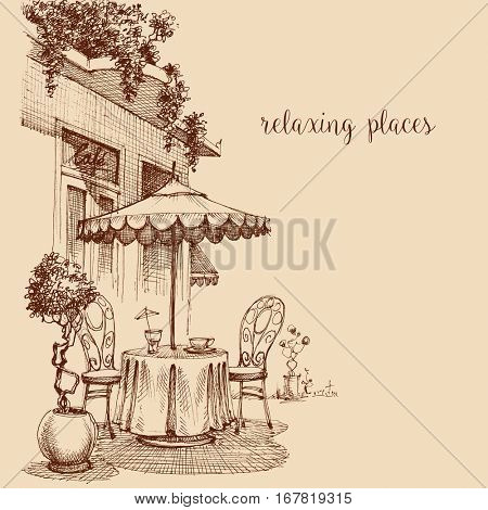 Restaurant exterior sketch, coffee shop terrace with table and chairs, lounge concept