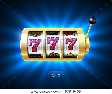 Slot machine with luck word, one-armed bandit vector illustration