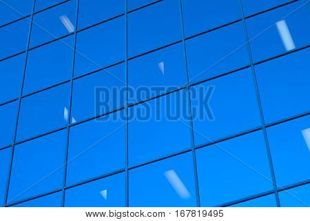 blue buildings glass window perspective skycraper office