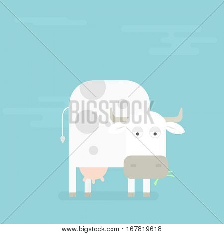 Cow eats grass. simple flat image