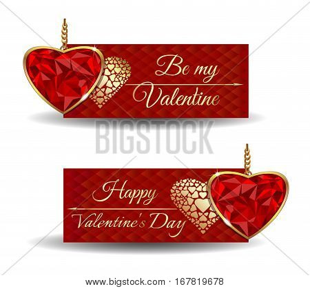 Banners set for Valentine's Day. Be my Valentine. Happy Valentine's Day. Trendy banners with cute red greeting card and jewel in the shape of heart. Vector illustration