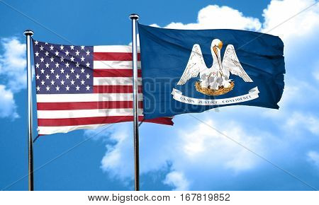 louisiana with united states flag, 3D rending, combined flags