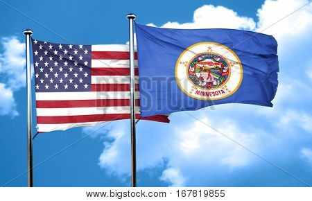 minnesota with united states flag, 3D rending, combined flags