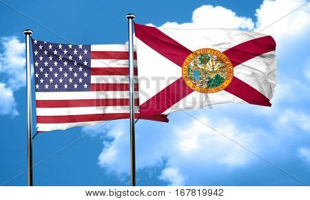 florida with united states flag, 3D rending, combined flags