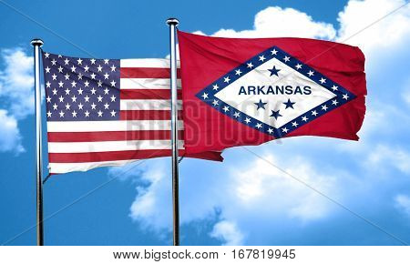 arkansas with united states flag, 3D rending, combined flags