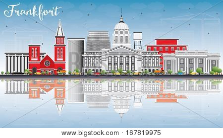 Frankfort Skyline with Gray Buildings, Blue Sky and Reflections. Vector Illustration. Business Travel and Tourism Concept with Modern Architecture. Image for Presentation Banner Placard and Web Site.
